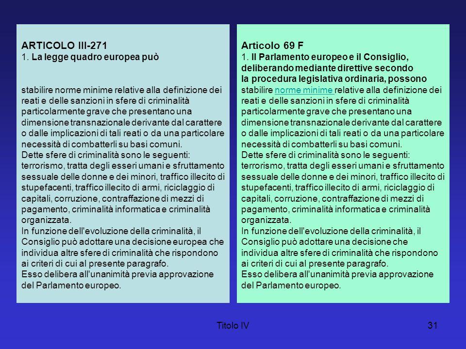 ARTICOLO III-271 Articolo 69 F 1. La legge quadro europea può