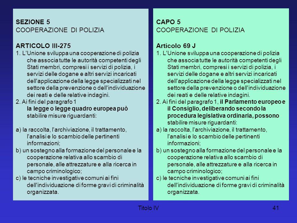 COOPERAZIONE DI POLIZIA ARTICOLO III-275 CAPO 5