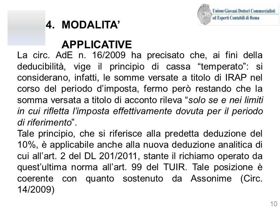 MODALITA' APPLICATIVE