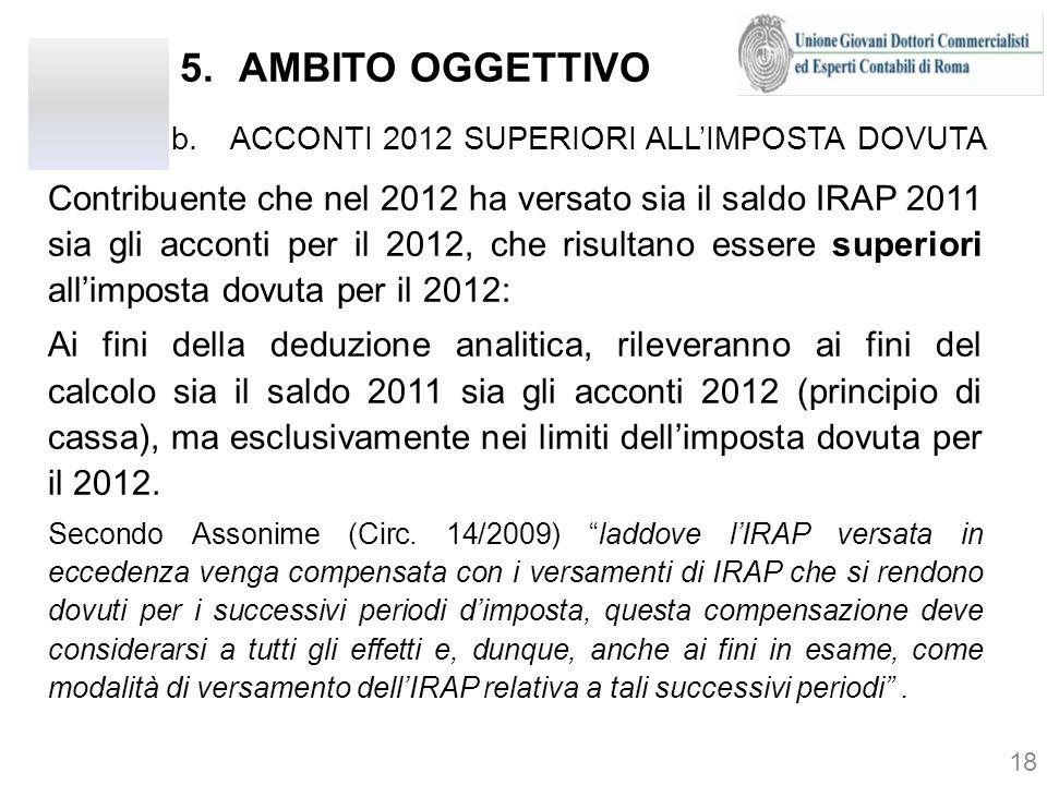 AMBITO OGGETTIVO ACCONTI 2012 SUPERIORI ALL'IMPOSTA DOVUTA.