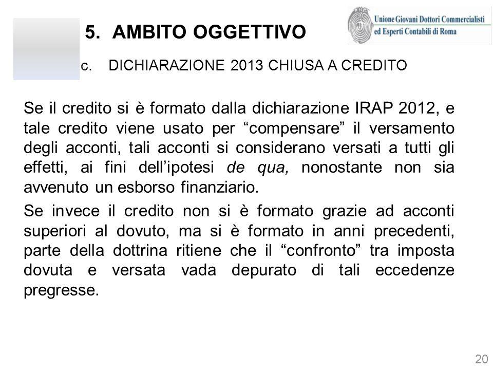 AMBITO OGGETTIVO DICHIARAZIONE 2013 CHIUSA A CREDITO.