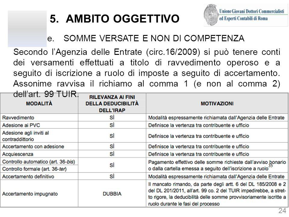 AMBITO OGGETTIVO SOMME VERSATE E NON DI COMPETENZA