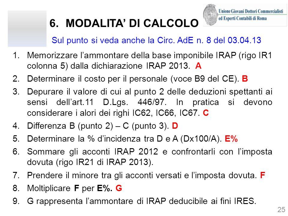 MODALITA' DI CALCOLO Sul punto si veda anche la Circ. AdE n. 8 del 03.04.13.