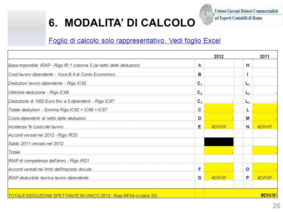 MODALITA' DI CALCOLO Foglio di calcolo solo rappresentativo. Vedi foglio Excel. 2012. 2011.
