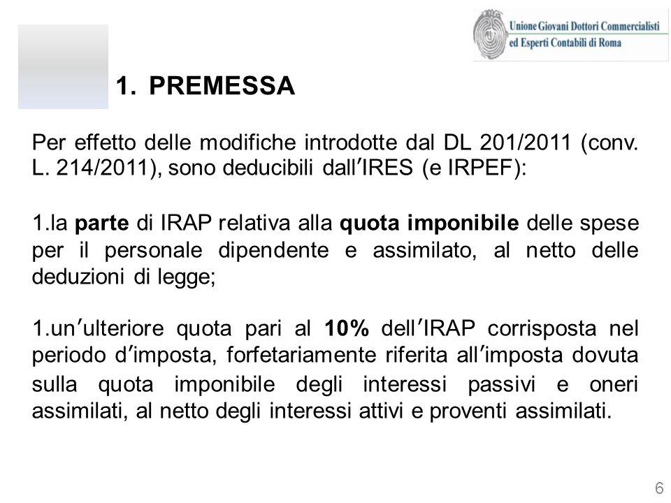 PREMESSA Per effetto delle modifiche introdotte dal DL 201/2011 (conv. L. 214/2011), sono deducibili dall'IRES (e IRPEF):