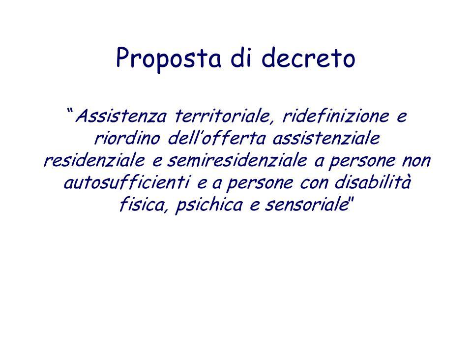 Proposta di decreto Assistenza territoriale, ridefinizione e riordino dell'offerta assistenziale residenziale e semiresidenziale a persone non autosufficienti e a persone con disabilità fisica, psichica e sensoriale