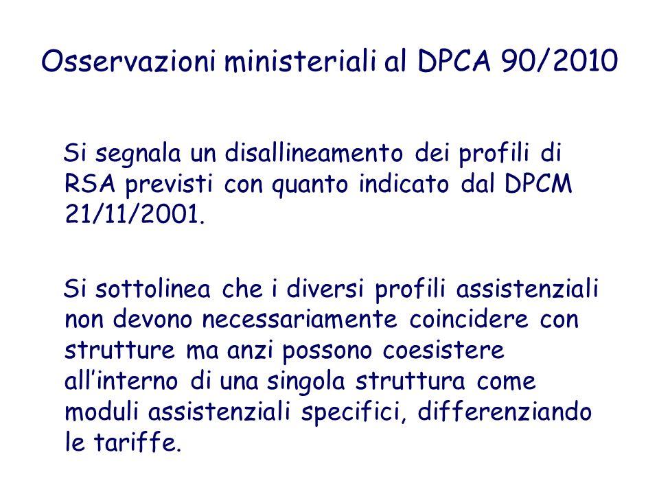 Osservazioni ministeriali al DPCA 90/2010