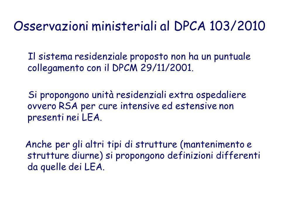 Osservazioni ministeriali al DPCA 103/2010