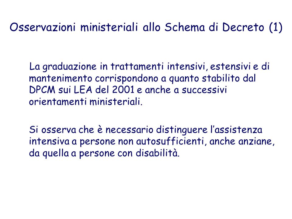 Osservazioni ministeriali allo Schema di Decreto (1)