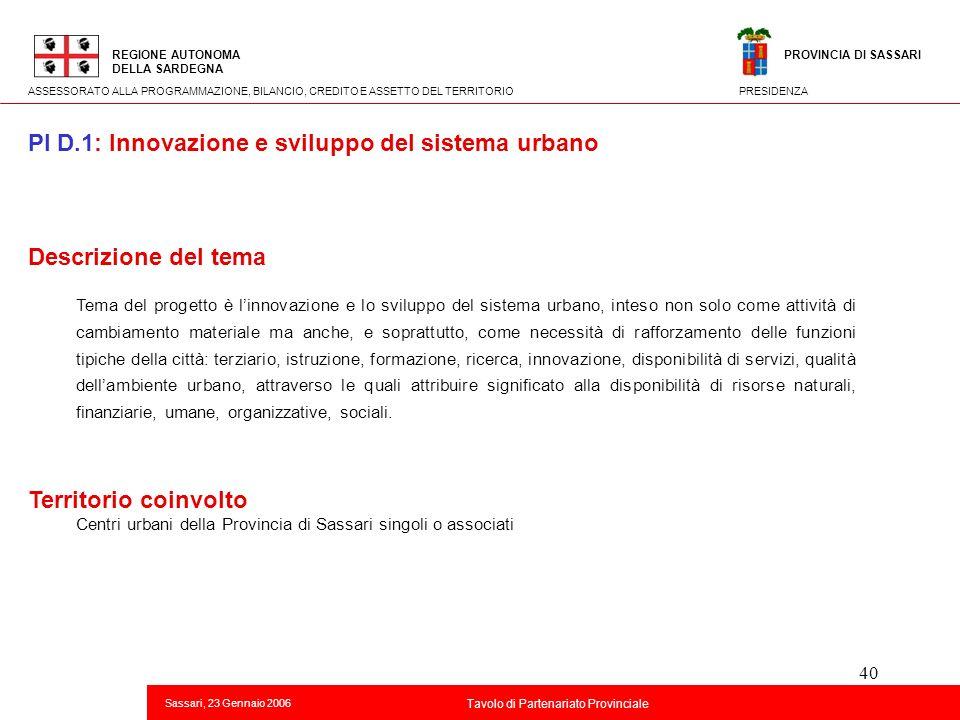 PI D.1: Innovazione e sviluppo del sistema urbano