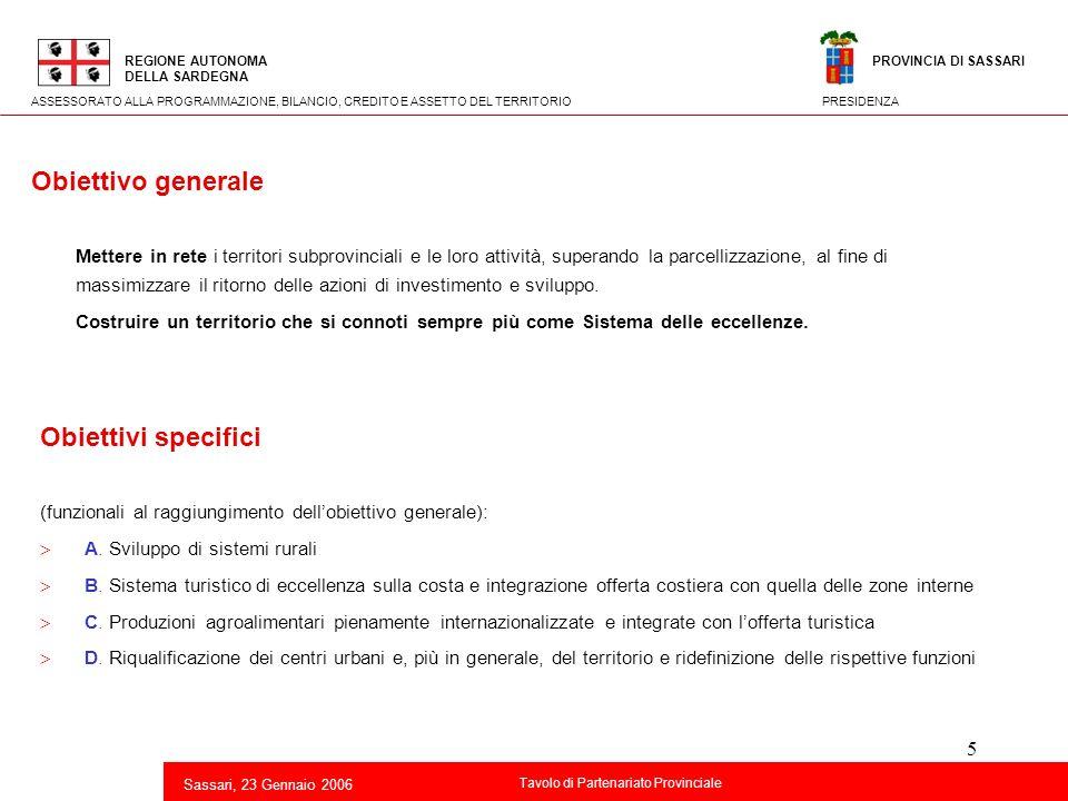 Obiettivo generale Obiettivi specifici
