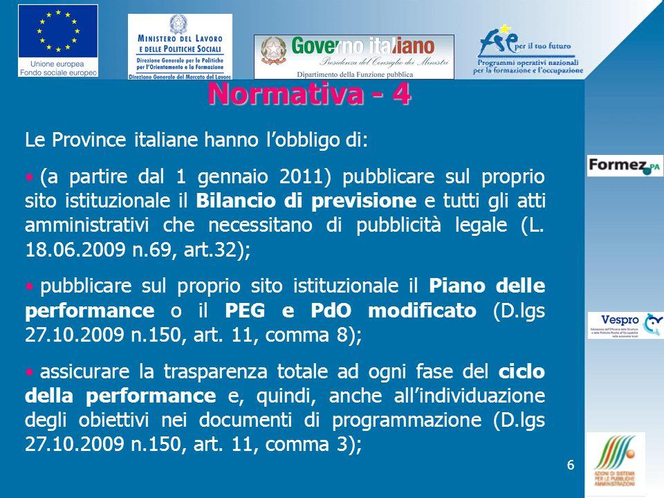 Normativa - 4 Le Province italiane hanno l'obbligo di: