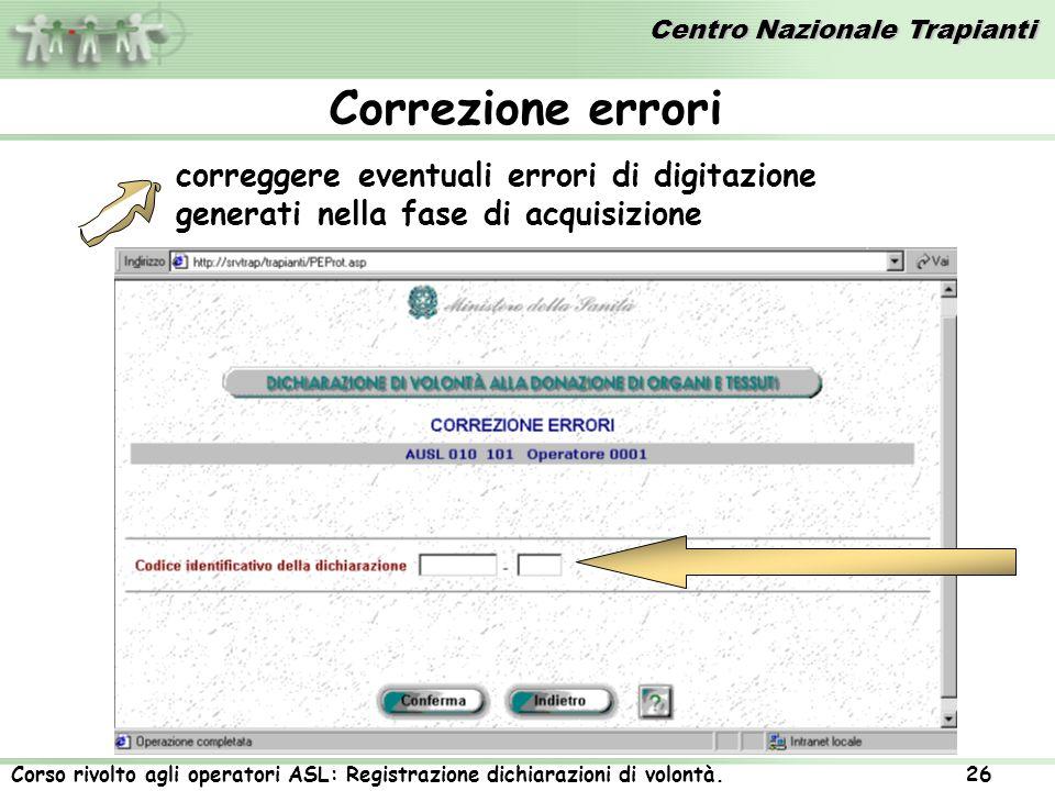 Correzione errori correggere eventuali errori di digitazione generati nella fase di acquisizione
