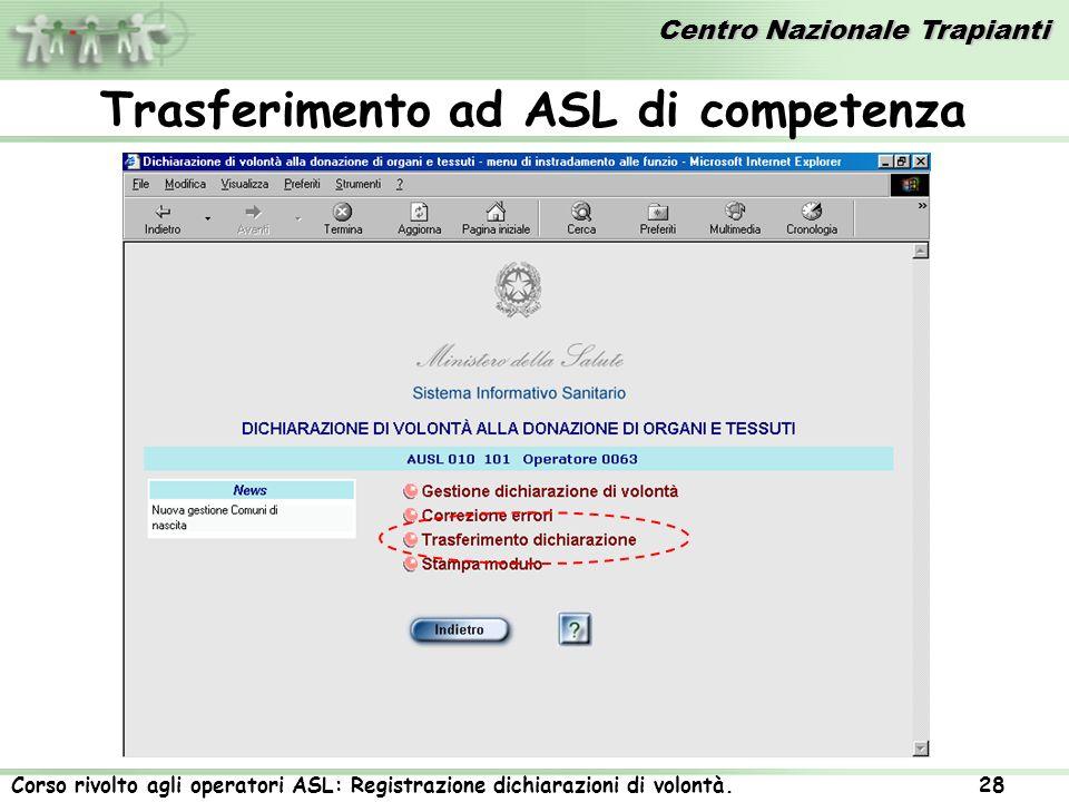 Trasferimento ad ASL di competenza