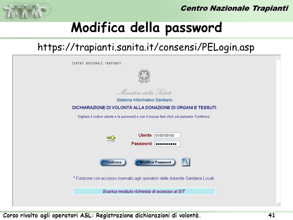 Modifica della password