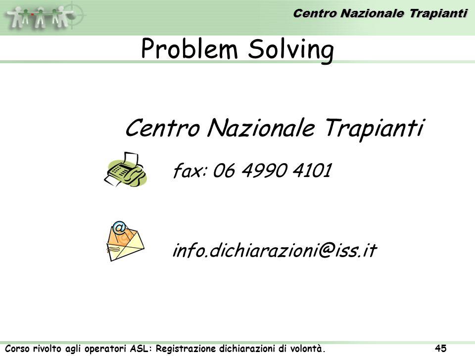 Problem Solving Centro Nazionale Trapianti fax: 06 4990 4101