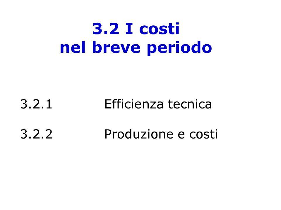 3.2 I costi nel breve periodo