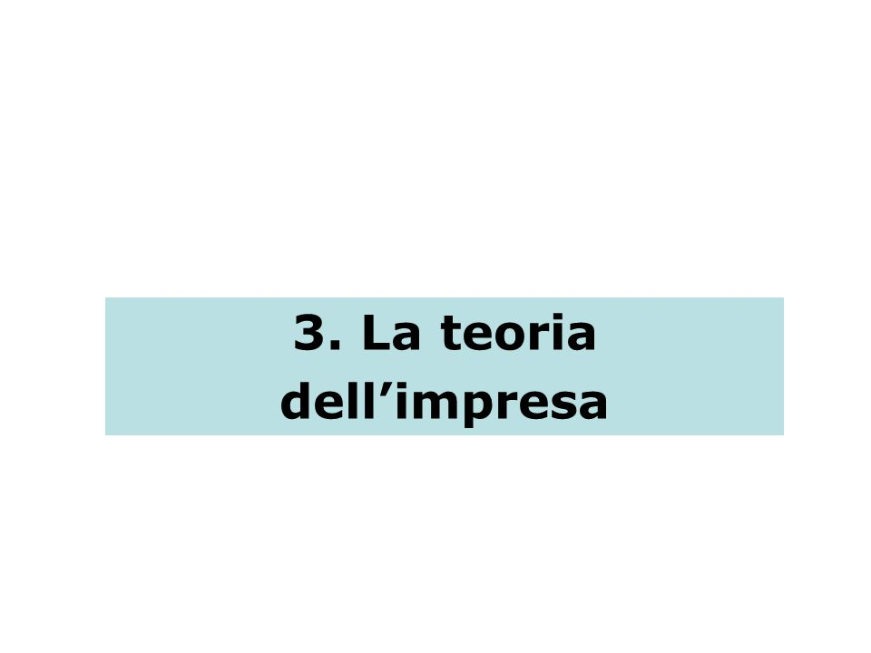 3. La teoria dell'impresa