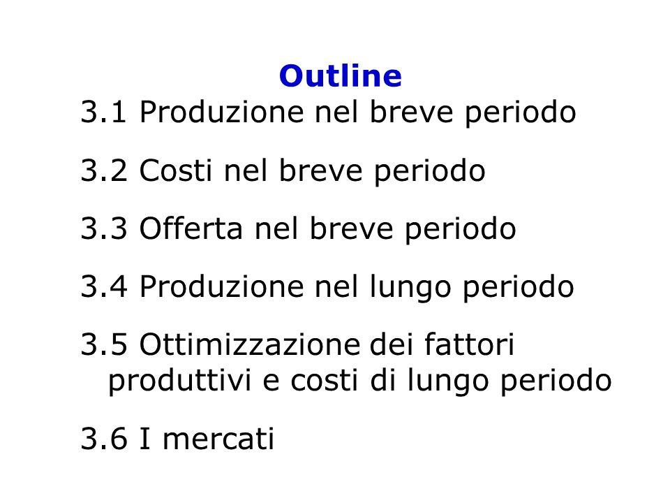 Outline 3.1 Produzione nel breve periodo. 3.2 Costi nel breve periodo. 3.3 Offerta nel breve periodo.