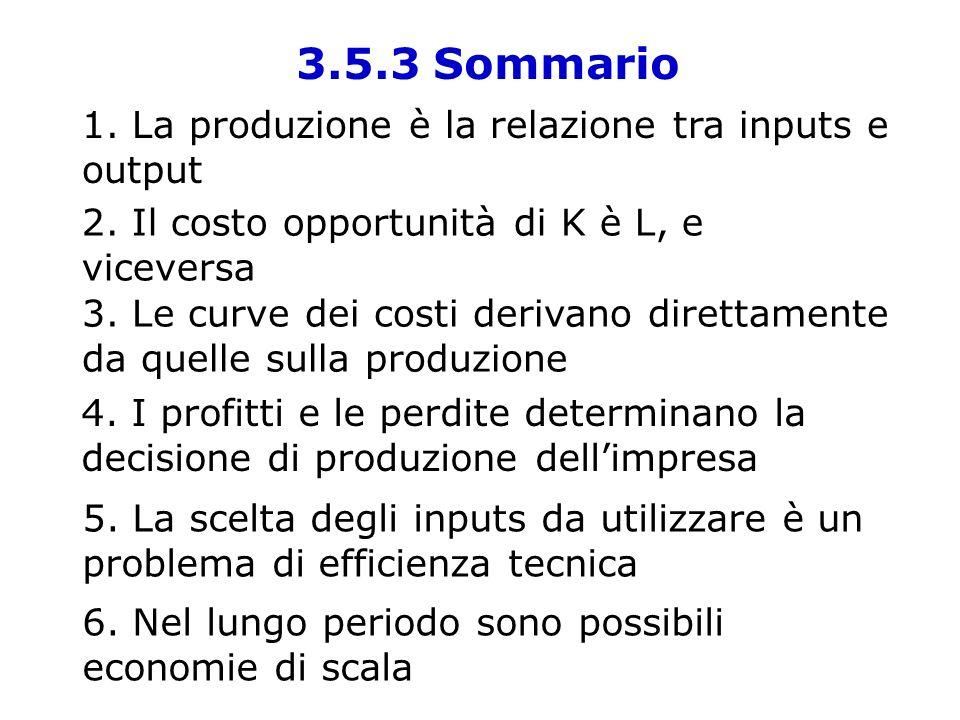 3.5.3 Sommario 1. La produzione è la relazione tra inputs e output