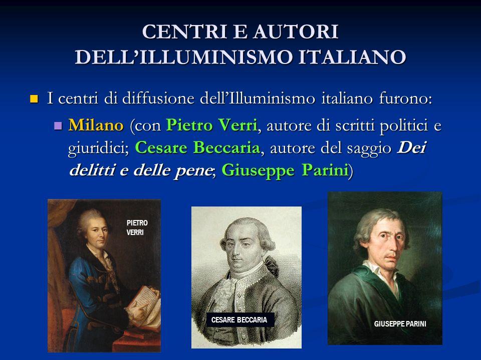 CENTRI E AUTORI DELL'ILLUMINISMO ITALIANO
