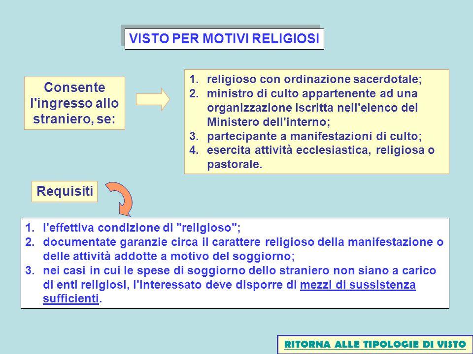 VISTO PER MOTIVI RELIGIOSI