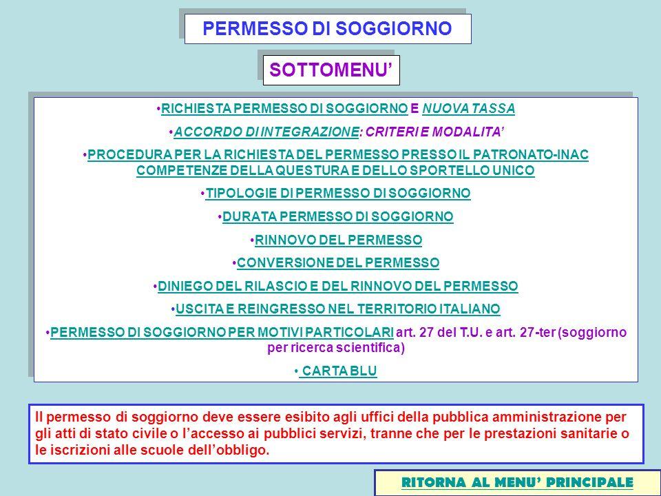 PERMESSO DI SOGGIORNO SOTTOMENU'