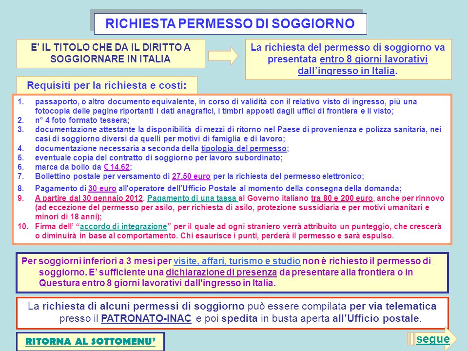 Emejing Carta Di Soggiorno Italia Images - Design and Ideas ...