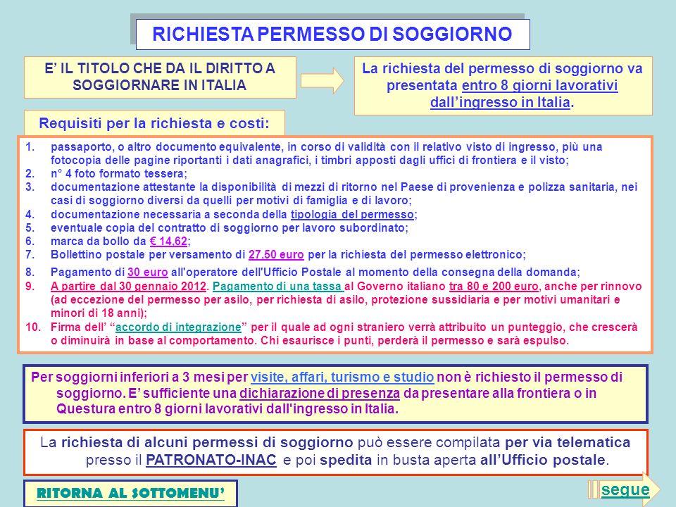 RICHIESTA PERMESSO DI SOGGIORNO