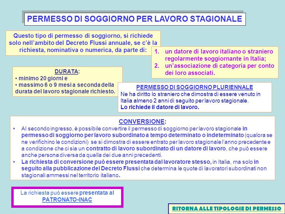 PERMESSO DI SOGGIORNO PER LAVORO STAGIONALE