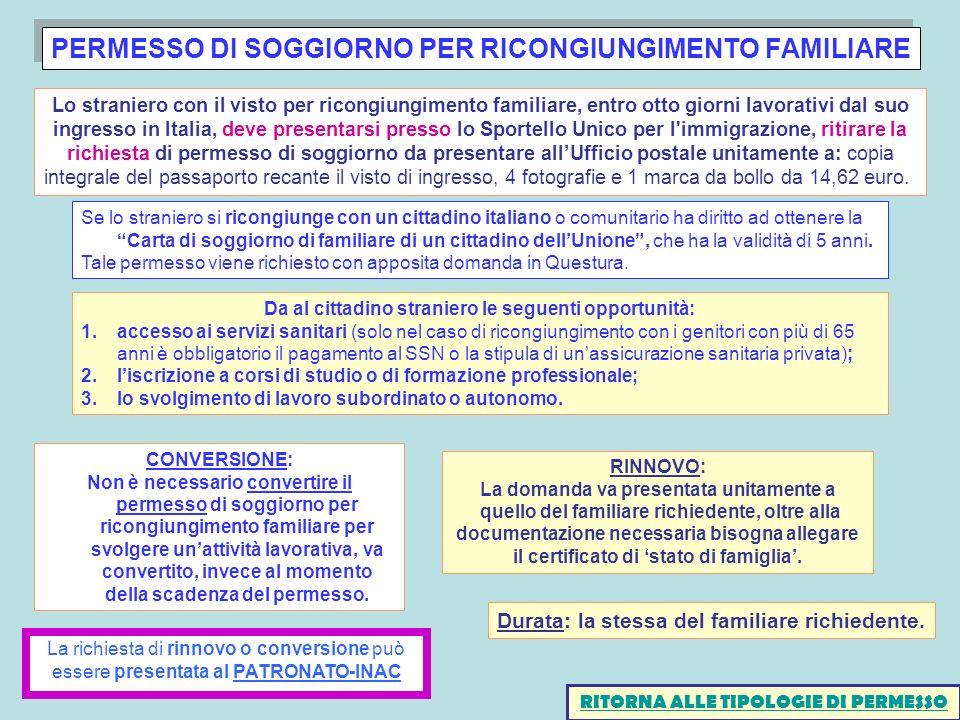 PERMESSO DI SOGGIORNO PER RICONGIUNGIMENTO FAMILIARE