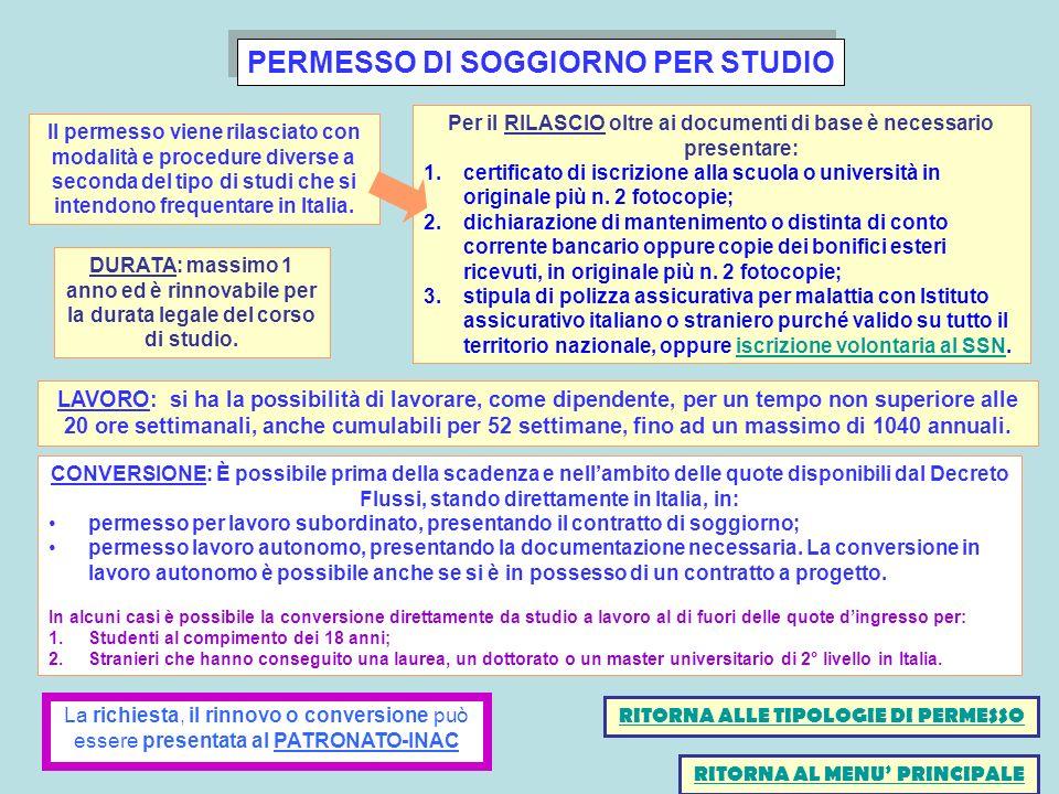 PERMESSO DI SOGGIORNO PER STUDIO