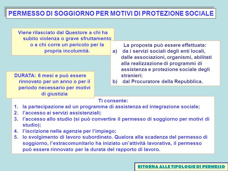 PERMESSO DI SOGGIORNO PER MOTIVI DI PROTEZIONE SOCIALE