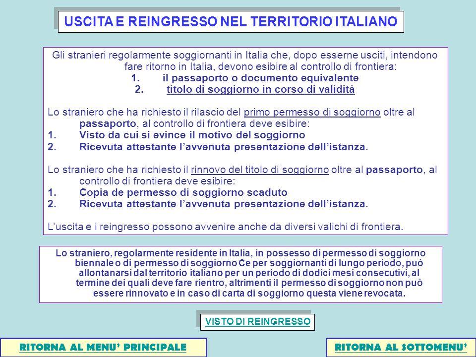 USCITA E REINGRESSO NEL TERRITORIO ITALIANO