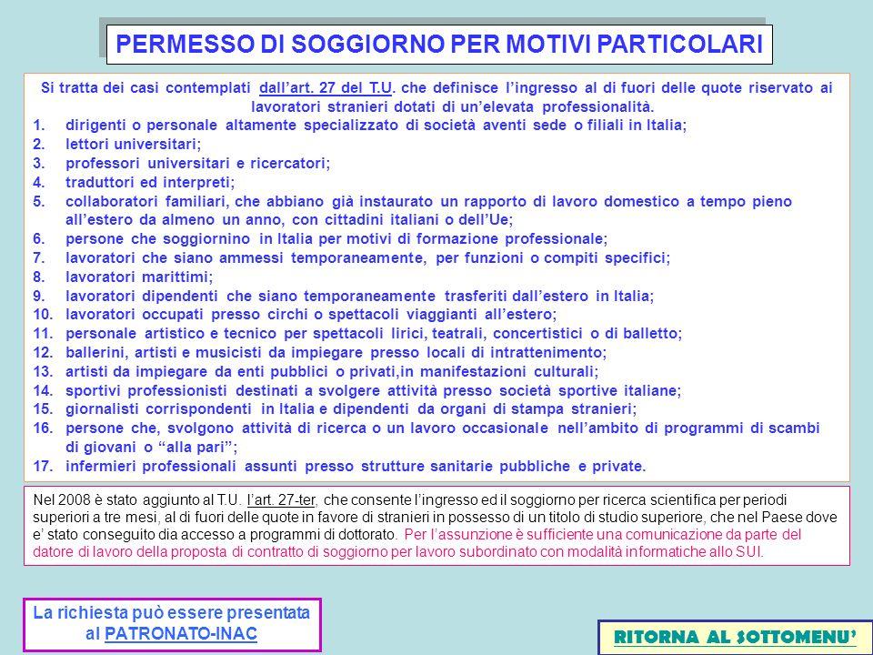 PERMESSO DI SOGGIORNO PER MOTIVI PARTICOLARI