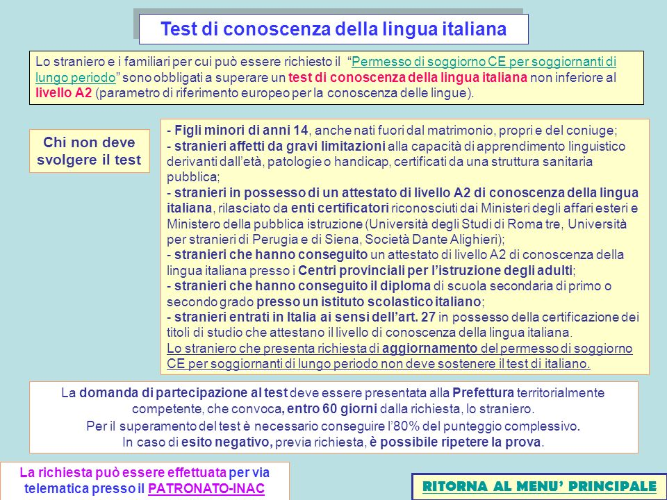 Beautiful Test Di Lingua Italiana Per Carta Di Soggiorno Pictures ...