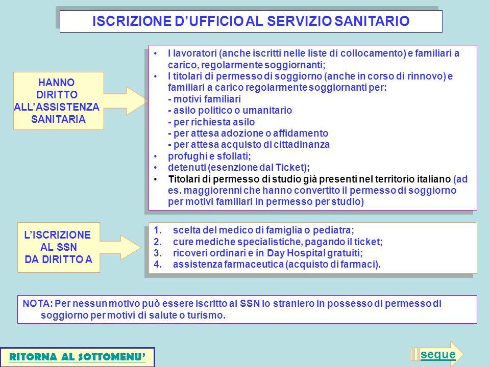 ISCRIZIONE D'UFFICIO AL SERVIZIO SANITARIO