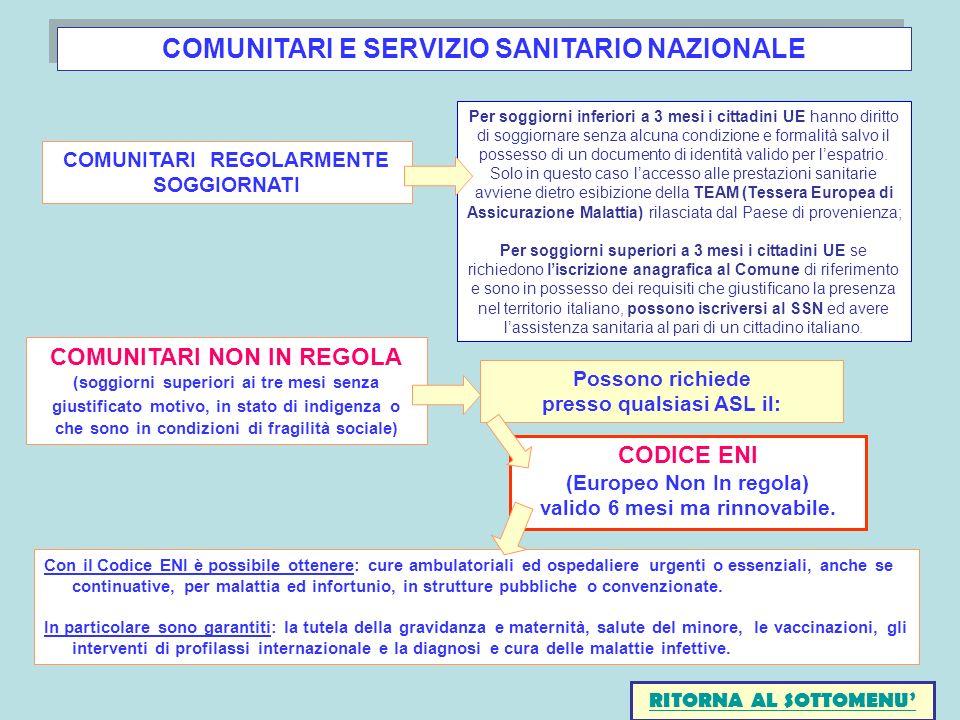 COMUNITARI E SERVIZIO SANITARIO NAZIONALE
