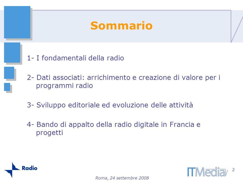 Sommario 1- I fondamentali della radio