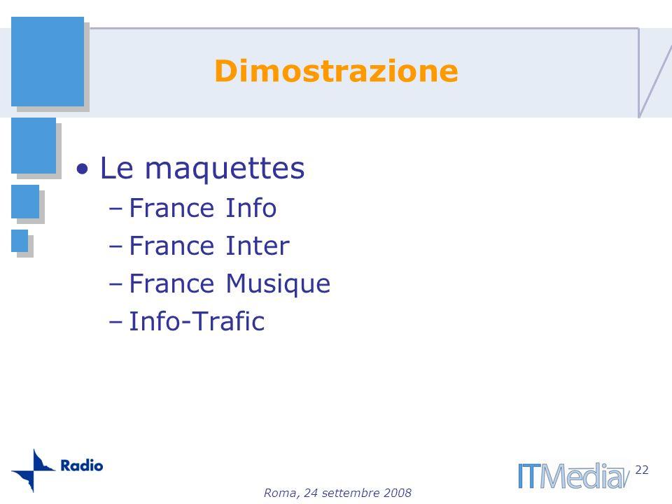 Dimostrazione Le maquettes France Info France Inter France Musique