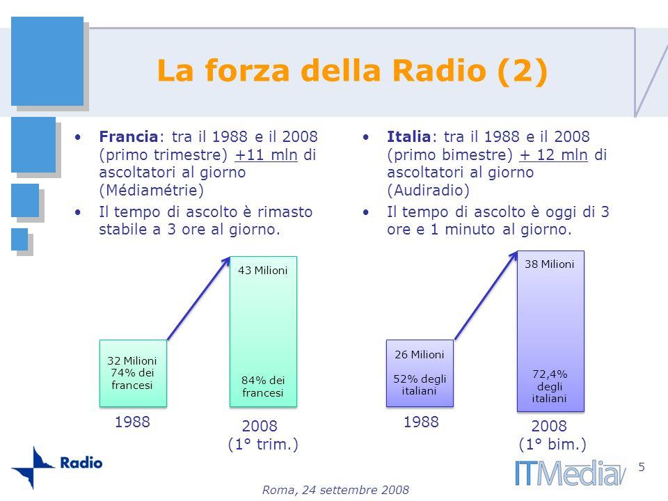 La forza della Radio (2) Francia: tra il 1988 e il 2008 (primo trimestre) +11 mln di ascoltatori al giorno (Médiamétrie)