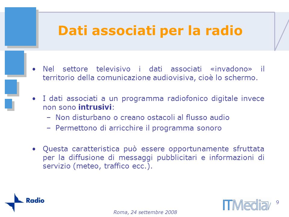 Dati associati per la radio