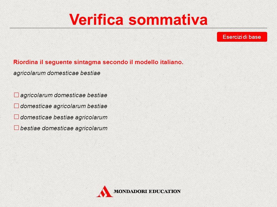 Verifica sommativa Esercizi di base. Riordina il seguente sintagma secondo il modello italiano. agricolarum domesticae bestiae.
