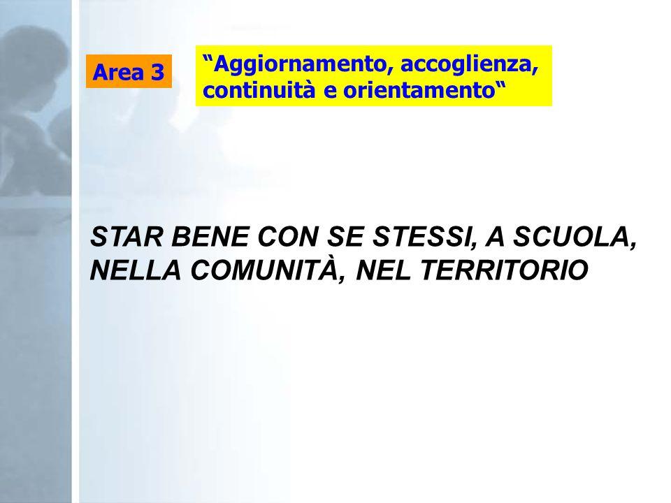 STAR BENE CON SE STESSI, A SCUOLA, NELLA COMUNITÀ, NEL TERRITORIO
