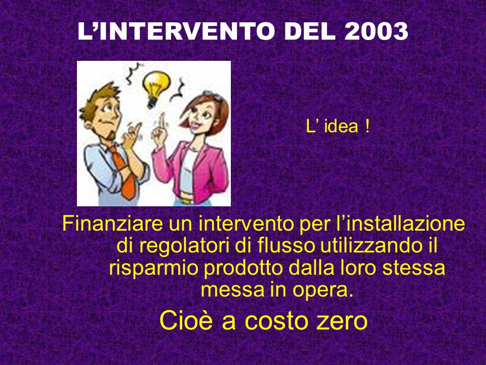 Cioè a costo zero L'INTERVENTO DEL 2003