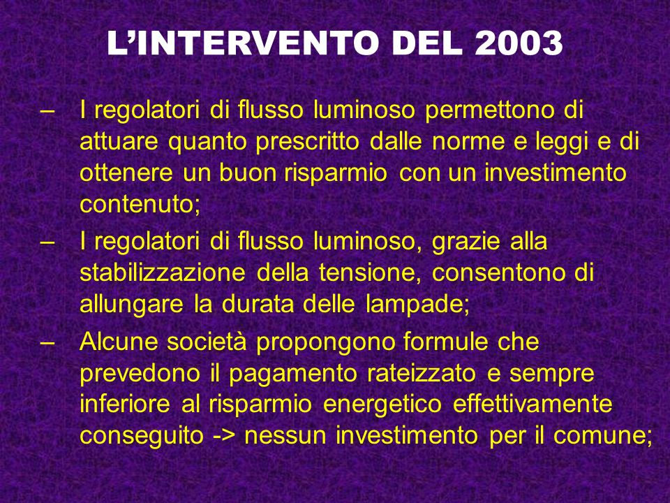 L'INTERVENTO DEL 2003