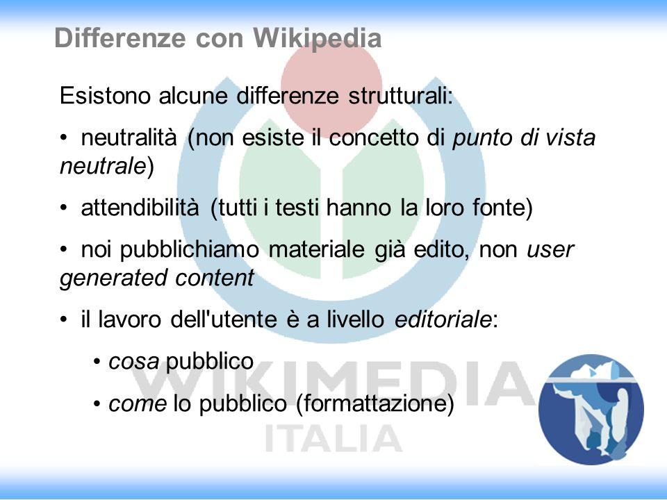 Differenze con Wikipedia