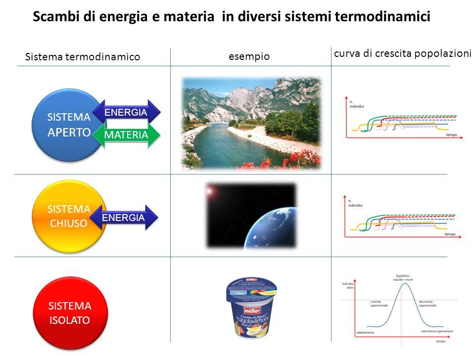 Scambi di energia e materia in diversi sistemi termodinamici