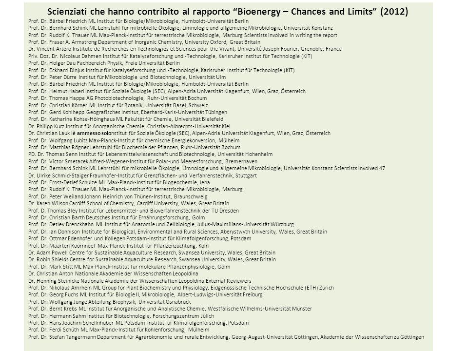 Scienziati che hanno contribito al rapporto Bioenergy – Chances and Limits (2012)
