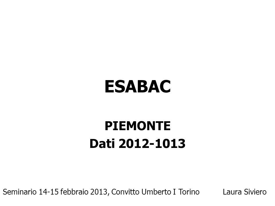 ESABAC PIEMONTE. Dati 2012-1013.